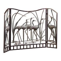 """SPI - Crane Flock Fireplace Screen - -Size: 30.5"""" H x 46"""" W x 2"""" D"""