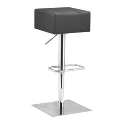 ZUO MODERN - Butcher Barstool Black - Chunky, manly, and modern, the Butcher barstool has an adjustable stainless steel frame with a leatherette seat cushion.