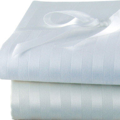 Luxor Linens - Via Frattina Italian Stripe Sheet Set, Queen, Ivory - Crisp, clean and subtlety striped, these linens are an elegant way to outfit your bed. Made in Italy from the finest Egyptian cotton sateen, the set includes one flat sheet, one fitted sheet, two pillowcases and infinite sweet dreams.