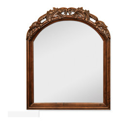 "Hardware Resources - Lyn Design Bathroom Mirror - Walnut Bombe Mirror by Lyn Design 26"" x 32"" Walnut mirror with hand-carved details and beveled glass. Corresponds with VAN009 and VAN009-T"