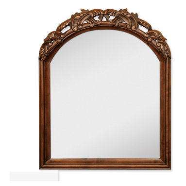 """Hardware Resources - Lyn Design Bathroom Mirror - Walnut Bombe Mirror by Lyn Design 26"""" x 32"""" Walnut mirror with hand-carved details and beveled glass. Corresponds with VAN009 and VAN009-T"""