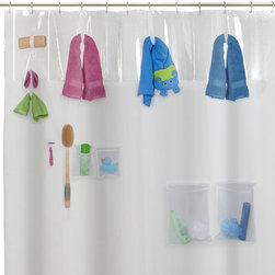 Storage View PEVA Shower Curtain - Between kids' and parents' toiletries, the bathtub area can often look like a mess. Get it all off the ground and out of the tub with this shower curtain that features loops and pockets for holding towels, bath products and kid's toys. It also provides easy access to things while taking a shower or bath.