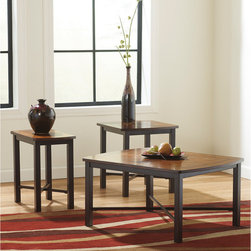 Signature by Ashley - Fletcher 3 Piece Occasional Table Set - Contemporary Design. Birch Veneer Top with Cherry Inlay. X-Stretchers highlight frame design. Tubular Metal Frame. Dark Bronze Powder Coated Finish. End Table: 22 in. W x 20.125 in. D x 21 in. H. Chairside End Table: 22 in. W x 13 in. D x 21 in. H. Cocktail Table: 36 in. W x 28 in. D x 18 in. H.