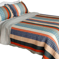 Blancho Bedding - [Retro Stripe] Cotton 3PC Vermicelli-Quilted Patchwork Quilt Set (Full/Queen) - Set includes a quilt and two quilted shams. Shell and fill are cotton. For convenience, all bedding components are machine washable on cold in the gentle cycle and can be dried on low heat and will last you years. Intricate vermicelli quilting provides a rich surface texture. This vermicelli-quilted quilt set will refresh your bedroom decor instantly, create a cozy and inviting atmosphere and is sure to transform the look of your bedroom or guest room. Dimensions: Full/Queen quilt: 90 inches x 98 inches. Standard sham: 20 inches x 26 inches.