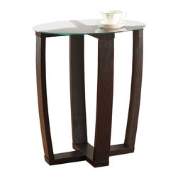 Convenience Concepts - Convenience Concepts Accent Table X-541121 - In a rich Espresso wood grain finish, the Newport Chairside table is sure to be an eyecatcher. Featuring an open core design, nd a round glass top. This table is the perfect way to add a touch of class to your home.