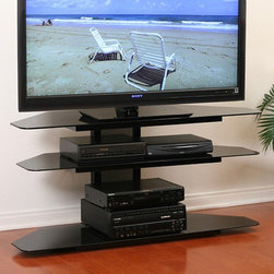 "Transdeco - Deco Entertainment 32""-52"" TV Stand - Features: -Perfect for a corner TV stand or AV components stand.-Constructed with tempered safety glass and heavy gauge powder-coated scratch resistant steel.-Cable management system to hide wires and cables.-Contemporary design compliments any room decor.-Accommodates most of the 32''-52'' plasma, LCD TV or not exceeding 125 lbs.-Top shelf capacity: 125 lbs.-Middle shelves capacity: 80 lbs.-Bottom shelf capacity: 185 lbs.-Gloss Black finish.-Deco Entertainment collection.-Distressed: No.-Collection: Deco Entertainment.-Recommended TV Type: LCD / LED, Plasma.-TV Size Accommodated: 35"" - 55"" TV.-Finish: Black.-Powder Coated Finish: Yes.-Gloss Finish: Yes.-Material: Glass & Metal.-Casters: No.-Accommodates Fireplace: No.-Integrated Flat Screen Mount: No.Specifications: -Holds at least 4 audio video components and a center channel speaker.Dimensions: -Middle shelf space: 7'' H x 50'' W x 17.5'' D.-Bottom shelf space: 13'' H x 52'' W x 17.5'' D.-Overall Height - Top to Bottom: 25"".-Overall Width - Side to Side: 52"".-Overall Depth - Front to Back: 19.375"".-Overall Product Weight: 87 lbs.Assembly: -Assembly Required: Yes.Warranty: -Product Warranty: 1 Year."