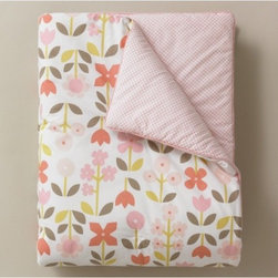 """DwellStudio - Rosette Blossom Play Blanket - Features: -Material: 100% Cotton. -Our soft play blankets are perfect anywhere from the nursery to a toddler bed. -Dimensions: 36"""" H x 50"""" W."""