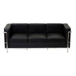 Lexmod Charles Petite Leather Sofa In Black Charles