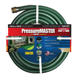 Swan PressureMASTER 5/8 in x 100 ft Garden Hose - Swan PressureMASTER 5/8 in x 100 ft Garden Hose with KinkFREE Technology Swan PressureMASTER 100-foot long heavy duty kink-free watering hose. Product Features: 600+ PSI heavy-duty Eco couplings with Spring Guard unique octagonal shape for high kink resistance oil-resistant jacket. Made in the USA. Limited Lifetime Warranty.