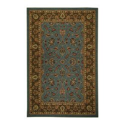 Rubber Back Ocean Blue Traditional Floral Non-Skid Area Rug (3'3 x 5') -