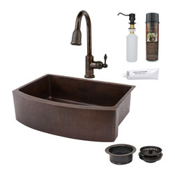 "Premier Copper Products - 33"" Kitchen Rounded Apron Sink w/ ORB Faucet - PACKAGE INCLUDES:"
