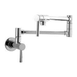 "Newport Brass - Newport Brass 9485/26 Polished Chrome Pot Fillers East Linear Double - East Linear Double Handle Low Lead Compliant Wall Mounted Pot filler Faucet Since 1989, Newport Brass has developed, designed and delivered classically constructed versatile suites of timeless kitchen, bath and shower products for the discerning customer. With over 20 years of commitment to well engineered solid brass designs and an undisputed reputation for performance and durability, Newport Brass continues to handcraft the finest fixtures with strict testing and quality assurance measures. Faucet Features :  Wall Mounted Installation Contemporary Style Double Handle ADA Compliant Lever Handles Brass Valve Bodies Quarter-turn Washer Less Ceramic Disc Valve Cartridges Solid Brass Construction Two-valve, Double Pivot Design Two Shut-off Valves Twin Knuckles  Faucet Specifications :  First Arm Extends : 14-3/16"" Full Extension (Second Arm) : 26-15/16"" Height : 7-13/16"" Spout Height : Dependent upon installation Number of Handles : 2 Handle Type : Metal Lever Escutcheon Diameter : 2-15/16"" Escutcheon Height : 5/8"" Material : Solid Brass  *For a deck mounted version of this pot filler please see the Newport Brass 9486*"