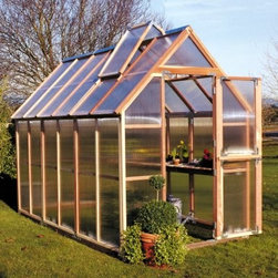 Sunshine Mt. Hood 6 x 12 Foot Greenhouse - Additional FeaturesDoor measures 28W x 78H inchesPeak height measures 8.4 feetPanels come preassembledDoes not take long to assembleIncludes printed instructions and an assembly videoComes with a 5-year warrantyWith its narrow design, the Sunshine Mt. Hood 6 x 12-Foot Greenhouse allows even those with limited space to enjoy fresh fruits, vegetables, and plants. With two vents with automatic openers and Dutch doors, you can be sure that there will be plenty of air circulation to help keep your plants healthy. The Dutch doors, which also help you to keep small animals out, as well as the base are made from recycled plastic. Crafted from beautiful, natural, and sturdy redwood, the preassembled panels are made from twin polycarbonate which helps to protect your plants. The greenhouse measures 12L x 6W x 8.4H feet and comes with printed instructions as well an assembly video.
