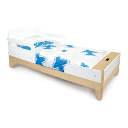 """P'kolino - P'kolino Little Modern Toddler Bed - A playfully modern transition to a """"big kid"""" bed! Beautiful real wood details, diagonal leg design and convenient hidden storage are a few of the key features that make this line distinctively P'kolino."""