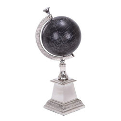 """Benzara - 13 in. x 5 in. Aluminum Globe - Beautifully carved 28321 Aluminum Globe is the one such table decor item that serves as an educational aid for your kids who are pursuing geography.; Material: Aluminum; Color: Black and white; Unique table decor to entertain the guests in special manner; Unique Home Decor Item; Supporting decor; Dimensions: 13""""H x 5""""W"""