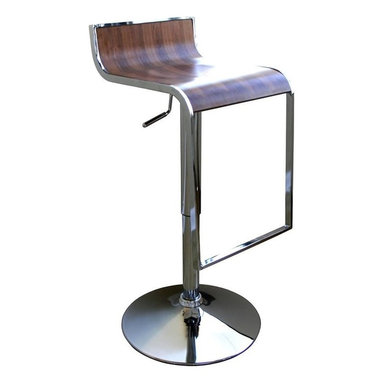 Wholesale Interiors - Baxton Studio Stainless Steel Barstool in Walnut - Set of 2 - The steel frame of this bar chair extends downward and doubles up as a footrest. Stool features full 360 degree swivel. Height adjustable with gas hydraulic piston system. The high polished look with a polished chrome finish makes the bar stool look trendy as well as stylish. The stool also has a rubber ring under the base for sensitive wood or marble floors. The angular tones provide a sophisticated look, which can add a designer touch to even the most basic area. This is the perfect low back barstool, if you are hunting for a bar chair that has a good dose of style and is easy to use, then this swivel barstool is the right choice.