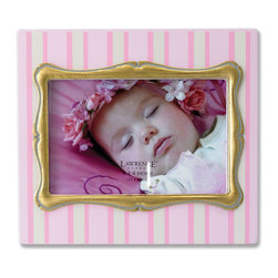 Lawrence Frames - 4x6 Pink Pinstripe Wood Picture Frame with Gold inner Frame - Fabulous  4x6 decorative pink pinstripe picture frame with gold leaf inner frame.  High quality black wood backing with easel for table top display.  Individually boxed.