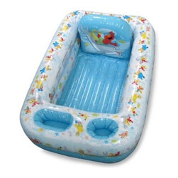 Ginsey - Ginsey Sesame Street Inflatable Bathtub - This inflatable bathtub is so cute that your child may actually look forward to bath time! It's equipped with all the bathing basics and has plenty of storage pockets so parents can wash more and worry less.