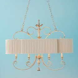 Pleated Shade French Island Chandelier -