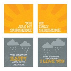 "Nursery Code - Set of 4 prints mounted on Standouts - Ready-to-hang -You are my sunshine design - This listing is for set of four prints mounted professionally on 1"" THICK STANDOUT."