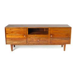 Teak Me Home - Hayworth Media Cabinet - Natural Honey Color Finish - Solid Reclaimed Teak Wood - 100% Solid Reclaimed Teak