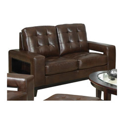 Coaster - Coaster Paige Leather Love Seat with Cutout Arms in Brown - Coaster - Loveseats - 504432 - This sleek contemporary loveseat will add comfortable seating to your living room. Perfect for additional seating or in place of a sofa in a smaller home apartment or condo this two seat loveseat offers a bold modern style. Tufted cushions and wide track arms create a cozy yet sleek look with cutout in the arm that add distinction as well as convenient storage space. A dark wood base rail and tapered legs complete this loveseat.