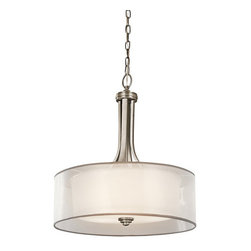 Kichler - Kichler 42385AP Lacey 3-Bulb Indoor Pendant with Drum-Shaped Organza Shade - Product Features: