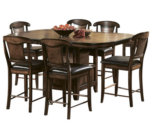 Homelegance - Homelegance Westwood 7-Piece Counter Height Dining Room Set - Deriving its look from a multitude of classic designs, the Westwood collection is the perfect blend of traditional accents and transitional styling. Drawing from the classic details of matched oak veneer patterns and modified Napoleon chair backs, the transitional design is pulled together with functional table base storage, bi-cast vinyl seats and a warm burnished oak finish.