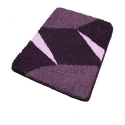 Purple Non Slip Contemporary Bathroom Rugs, Small - Small purple bath rug with a bold contemporary geometric design.  Non-slip / non-skid backing provides extra grip in any bathroom.  Plush densely woven .91in pile bath mats designed specifically for the bathroom.  Great for small bathrooms or small spaces. Machine wash in warm water, fluff dry in dryer.  Made in Germany