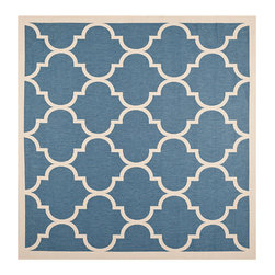 Safavieh - Courtyard Blue and Beige Square: 7 Ft. 10 In. x 7 Ft. 10 In. Rug - - Safavieh takes classic beauty outside of the home with the launch of their Courtyard Collection. Made in Turkey with enhanced polypropylene for extra durability these rugs are suitable for anywhere inside or outside of the house. To achieve more intricate and elaborate details in the designs Safavieh used a specially-developed sisal weave  - Pile Height: 0.25  - Construction: Machine Made  - Easy to Clean?Just sweep vacuum or rinse off with a garden hose. Safavieh - CY6914-243-8SQ