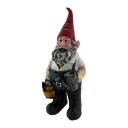 Adorable Gardener Gnome 8 In. - This gnome is the perfect accent in your garden, he is wearing his rubber boots, overalls, and gloves and has gardening tools and a watering can. Made of cold cast resin, this piece measures 8 inches tall, 3 1/2 inches wide, 3 inches deep and is hand-painted to bring out the wonderful details. He makes a wonderful housewarming gift, looks great in flower beds or on patios, and is small enough to display on desks or bookshelves. Randomly `gnome` someone, a neighbor, a co-worker, your boss- it`s sure to brighten their day, everyone likes a little surprise now and then, and perhaps they`ll pay it forward!