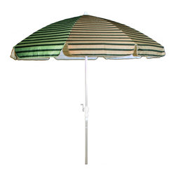 None - Dark Green and Tan Beige Stripes/ Silver Pole 92-inch Umbrella with Crank - Enjoy your outdoors all year long in comfort and style with this Dark Green and Tan Beige stripes and silver pole umbrella. Its aluminum pole fits most standard umbrella holes while its weather resistant 80-inch diameter canopy complements any decor.