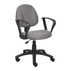Boss Chairs - Boss Chairs Boss Grey Deluxe Posture Chair with Loop Arms - Thick padded seat and back with built-in lumbar support. Waterfall seat reduces stress to legs. Adjustable back depth. Pneumatic seat height adjustment. 5 star nylon base allows smooth movement and stability. Hooded double wheel casters. With loop arms.