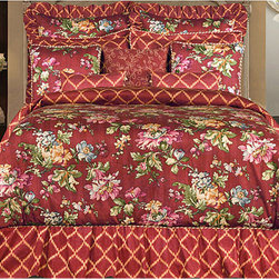 None - Cassandra Queen-size 4-piece Comforter Set - Add the luxurious look of a lush garden to your bedroom with the Cassandra Collection comforter set. A geometric pattern is used to create a trellis like look to compliment the floral in a orange hue.