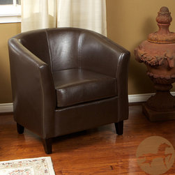 Christopher Knight Home - Christopher Knight Home Brown Bonded Leather Barrel Club Chair - A curved shape and luxurious leather upholstery highlight this barrel club chair. This chair features a rich brown color and reinforced stitching.