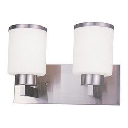 Z-Lite - Z-Lite Cosmopolitan Bathroom Light X-NB-V2-213 - For a cutting edge modern fixture, look no further than this two light vanity. Milk white shades are complimented with brushed nickel bands, and accented with a modern styled wall mount.