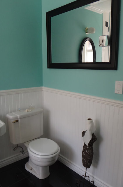 1940s Bathroom Remodel (old in yellow - new in blue, black ...