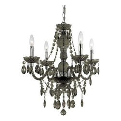Elements - Elements Naples Transitional Chandelier X-H4-1538 - This hand-crafted chandelier is unique and distinctive from any other chandelier. The AF Lighting Naples Transitional chandelier features a black frame with chrome finished accents for a classic and elegant look. The black crystal pendants adorned the chandelier for an added sparkle.