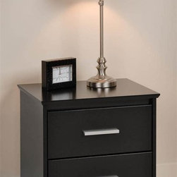 Prepac - Coal Harbor Nightstand w 2 Drawers - Full-sized drawers. Sturdy top. Beveled edges. Angled cut-outs. 6 in. rectangular matte metal drawer handles. Metal glides with built-in safety stops. Clear lacquered real wood drawer sides. Warranty: Five years. Made from CARB-compliant, MDF and laminated composite woods. Durable laminated finish. Made in North America. Assembly required. 20.5 in. W x 15.75 in. D x 21.75 in. HWho says practical furniture can't be trendy? Get functional and fashionable. Top to pile on your books, cell phone, reading glasses, alarm clock, lamp and whatever else you like: this night table will serve your storage and style needs. Combine it with other items in the Coal Harbor Bedroom Collection for a complete look!