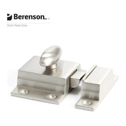 Brushed Nickel Cabinet Latch by Berenson - Brushed Nickel solid brass cabinet latch. Return to glamor with Polished Nickel, a rich metallic finish that coordinates well with many faucets and fixtures. This finish is ideal for achieving a high end look in traditional or transitional style kitchens and baths.