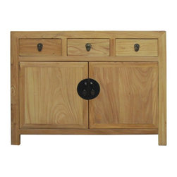 Golden Lotus - Chinese Natural Wood Sideboard Buffet Table Cabinet - This is a simple clean console cabinet with natural wood pattern and color. The surface is fine smooth finish. Drawers are decorated with leave shape handle. The doors are joined with round moom face hardware.