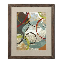 Uttermost - Away We Go Modern Art - Frames Feature A Unique, Reclaimed Wood Look With Medium Brown Undertones, Black And Brown Distressing And A Light Taupe Wash. Prints Are Accented By Textured, Dark Sand Fabric Mats And Are Under Glass.