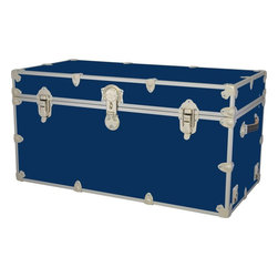 Phat Tommy Monster Toy Box Trunk Storage, Royal Blue - This shiny steamer-trunk-turned-toy-box is perfect if you're carrying the travel theme into a kids' room. Its scratch resistant, dent resistant and waterproof, and has ventilation holes and soft-close lid supports for safety. Plus, it doesn't lock.