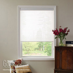 "Good Housekeeping Sheer Horizontal 2"" Window Shadings - Two sheer fabrics combine over soft horizontal fabric vanes to create Good Housekeeping Sheer Horizontal Shadings. Sheer Horizontal Shadings marry the soft light filtering effects of a sheer drapery with the ease and light control of a horizontal blind. The sheer fabric can be raised lowered and the fabric vanes can be tilted open or closed to provide light control or privacy. While it looks delicate, the two layers of sheer fabrics are resilient at blocking damaging UV rays from entering your home, preventing the fading of floors, furniture and upholstery. Raise the shading and it is tucked away in the head rail."
