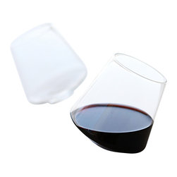Apt2B - Cupa Wineglasses, Set of 2 - These glasses may seem tipsy, but without a precarious stem, you could argue that you're less likely to spill than with a standard wineglass. The swirling motion, while looking seriously cool, also helps aerate the wine. Let's drink to that.
