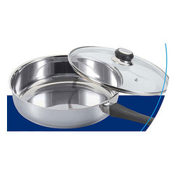 None - Stainless Steel 9-inch Saute Pan with Glass Cover - This stainless-steel saute pan is suitable for all kinds of cooking. The nine-inch pan includes a tempered glass lid with a steam hole, and the stainless steel construction will keep it in use in your kitchen for many years to come.