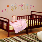 AFG Baby Furniture - Athena Anna Toddler Bed in Cherry - The Anna Wooden Toddler Bed is beautifully finished with an elegant sleigh design. The main structure is made of solid pine wood and the slats are made of composite wood. The bed is equipped with two guardrails to facilitate easy access and prevent your child from falling out.Additional supports for enhanced sturdiness in the center of the bed were designed with safety in mind.
