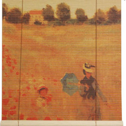 Oriental Furniture - Poppies Bamboo Blinds - 60 Inch, Width - 60 Inches - - These stunning bamboo matchstick blinds feature an image of Claude Monet's  Poppies, Near Argenteuil  painting.  Available in five convenient sizes.   Easy to hang and operate.  Available in five sizes, 24W, 36W, 48W, 60W and 72W.  All sizes measure 72 long. Oriental Furniture - WTCL09-0510-60