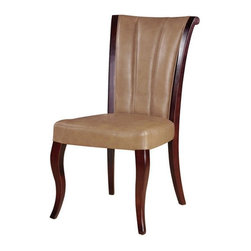 International Design - Channel Leather Dining Chairs - Set of 2 - Set includes two chairs . Update your dining room decor with with set of elegant chairs. Handsome dining chairs add sophistication to your home. Finely constructed chairs made of real leather and solid wood. No Assembly Required. 19 in. L x 20 in. W x 37 in. H (18 lbs)