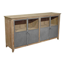 Kathy Kuo Home - Chaucer Industrial Loft Limed Wood and Metal Sideboard Storage Cabinet - Storage and style abound in this reclaimed pine and metal sideboard. Lime-finished pine sets the table for a bountiful buffet, while four zinc-finished metal doors hide dishes, linens and other necessities. With generous dimensions and storage, this posh piece doubles as an entertainment unit.